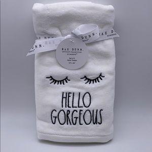 """Rae Dunn """"HELLO GORGEOUS"""" Hand Towels"""